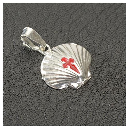 Pingente medalha prata 925 concha Santiago de Compostela 4