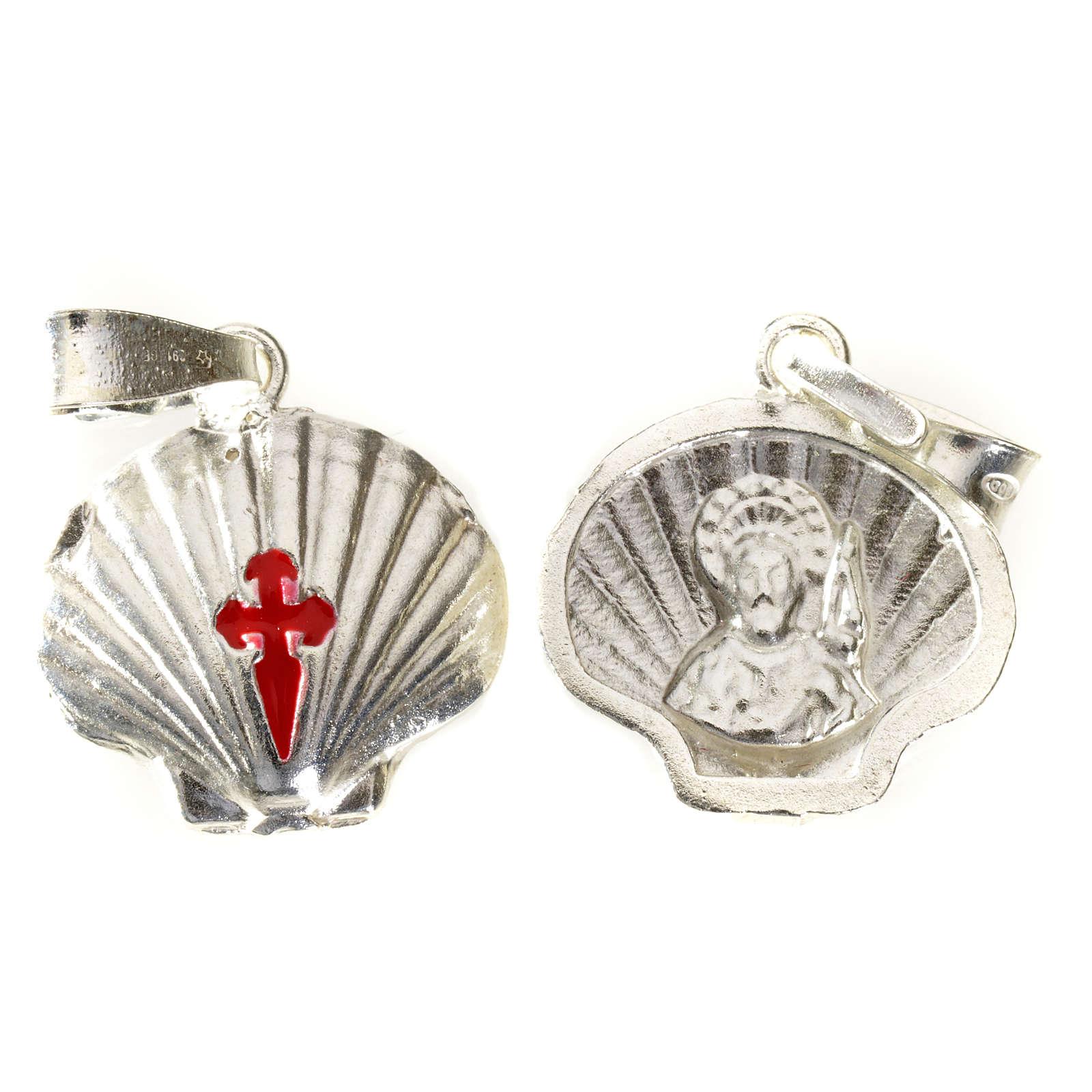 Pendant charm in 925 silver, Santiago de Compostela scallop shell 4