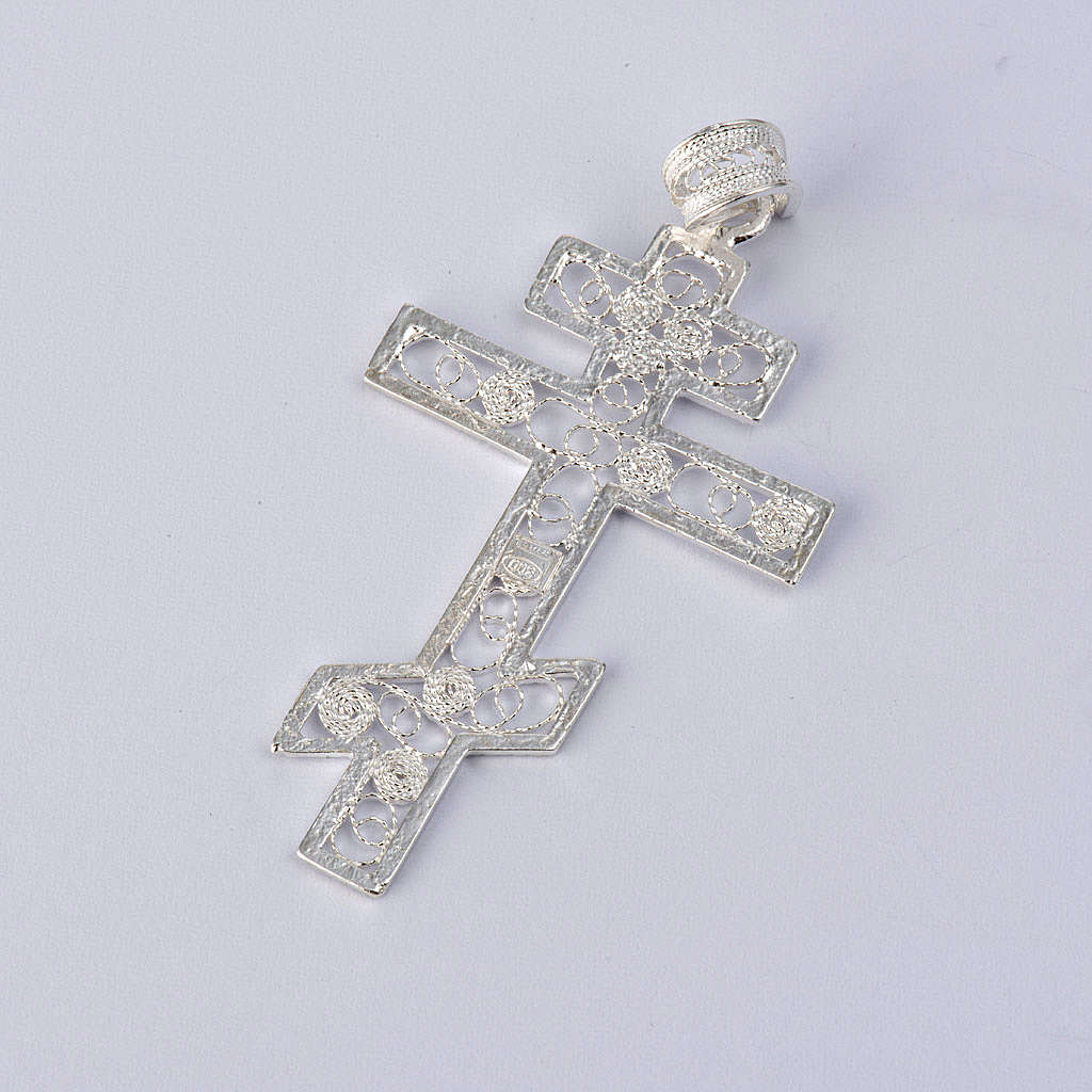 Orthodox cross filagree Silver 800 4