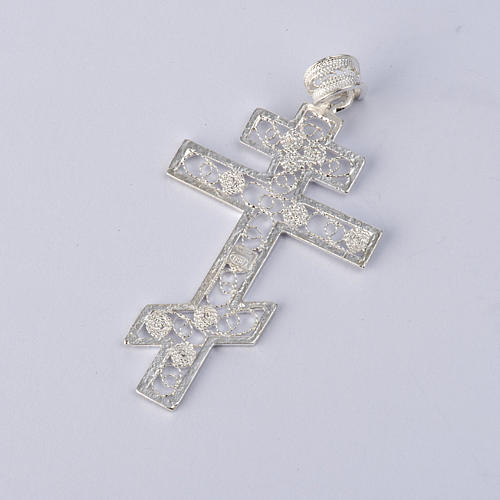 Cruz ortodoxa filigrana plata 800 2