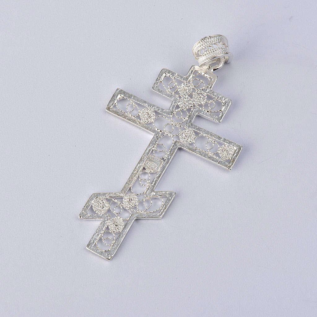 Croix orthodoxe filigrane d'argent 800 4