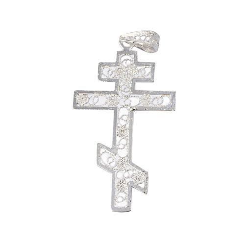 Croix orthodoxe filigrane d'argent 800 1