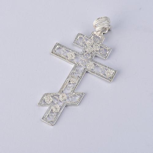 Croix orthodoxe filigrane d'argent 800 2