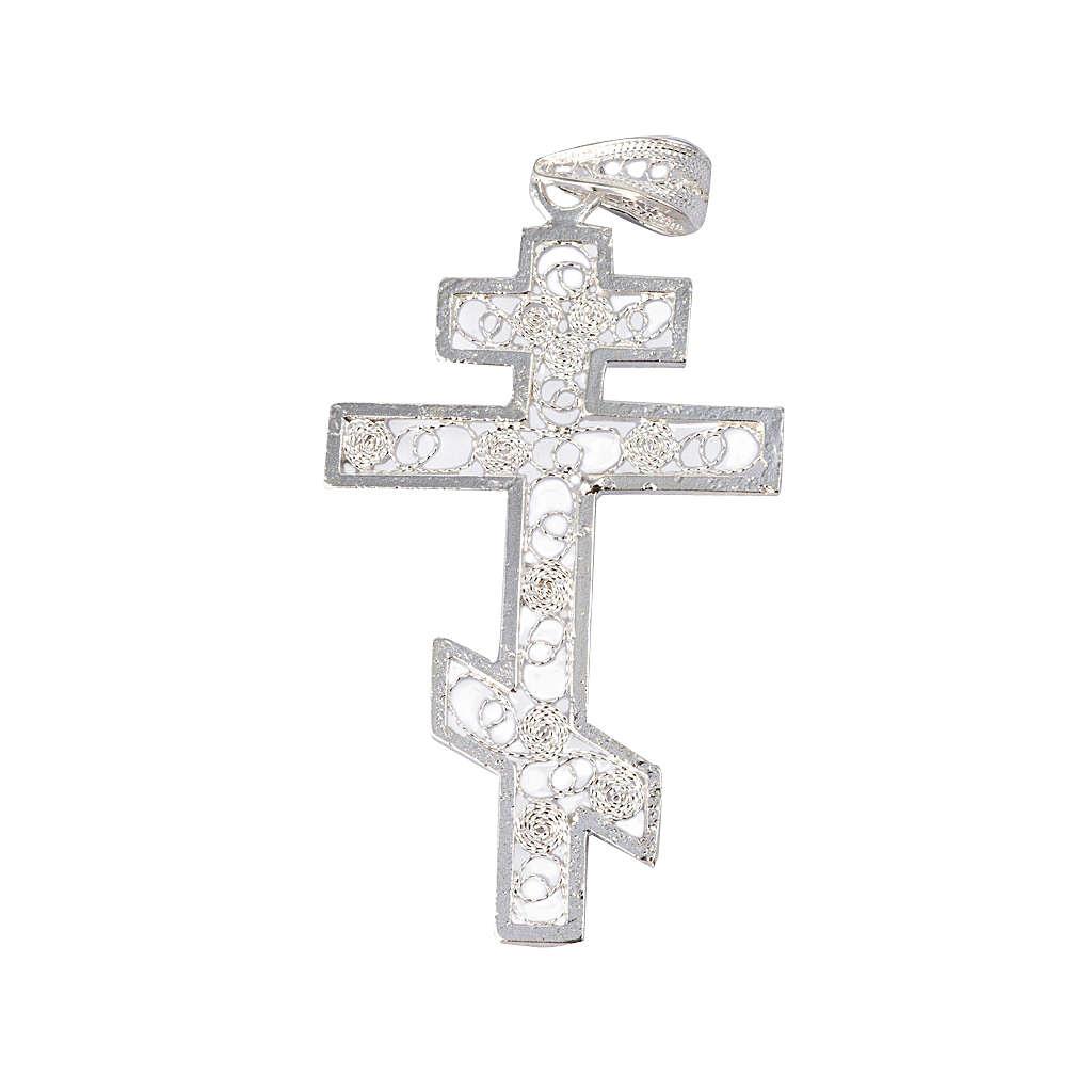 Krzyż prawosławny srebro 800 filigran 4