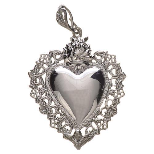 Colgante corazón ex-voto plata 925 4