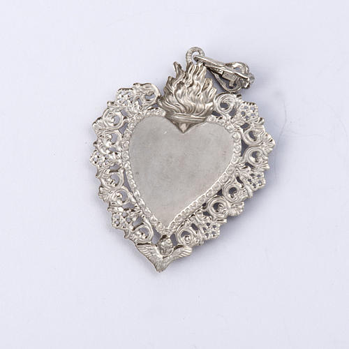 Pendentif coeur votif en argent 800 3