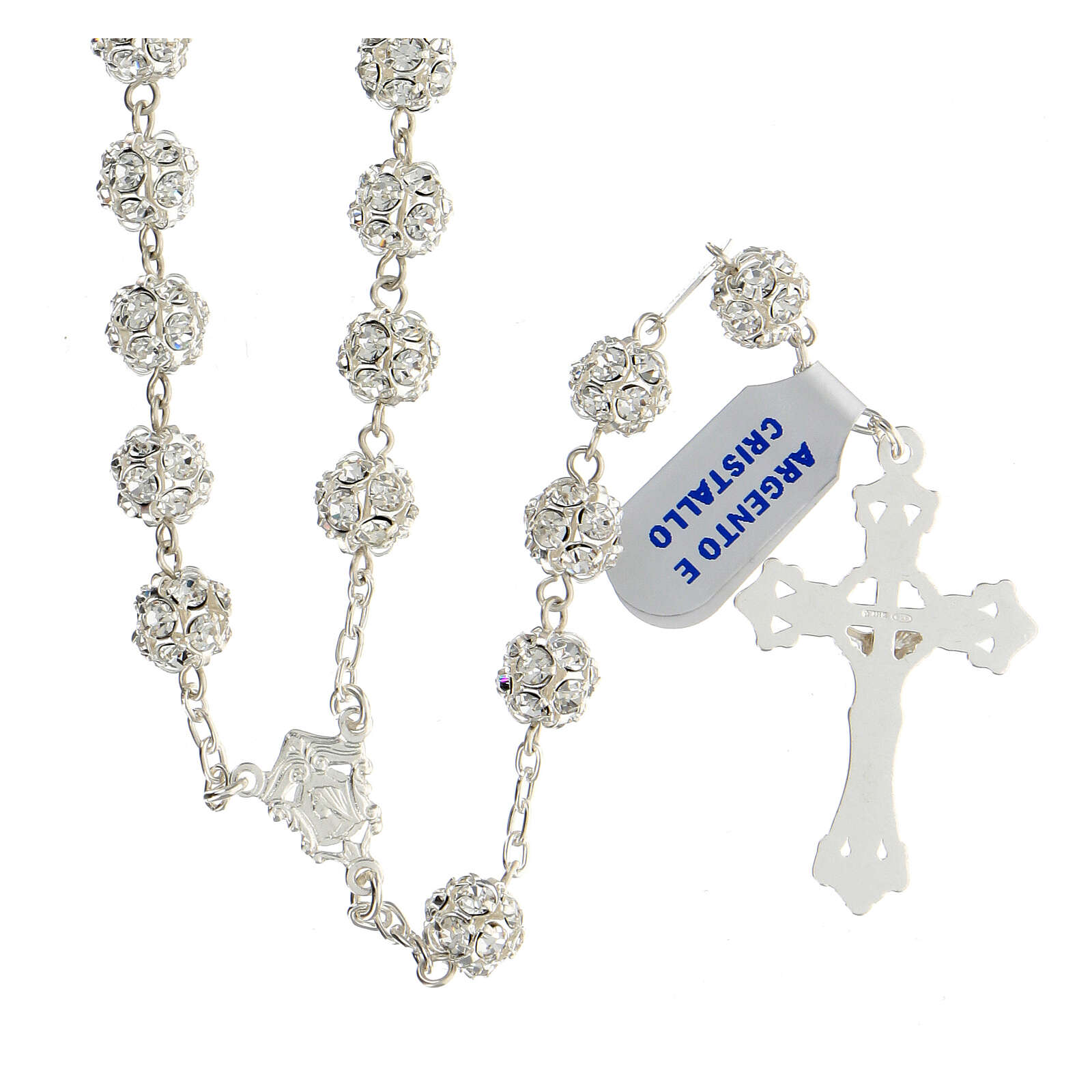 Rosary beads in 925 silver with 8mm beads encrusted with Swarovski crystals 4