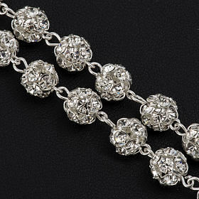Rosary beads in 925 silver with 8mm beads encrusted with Swarovski crystals s5