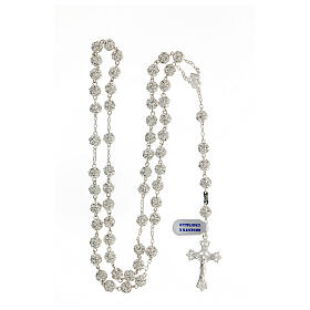 Rosary beads in 925 silver with 8mm beads encrusted with Swarovski crystals s4