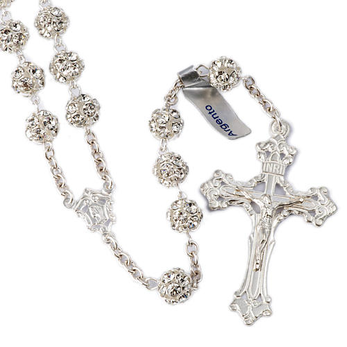 Rosary beads in 925 silver with 8mm beads encrusted with Swarovski crystals 1
