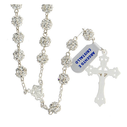 Rosary beads in 925 silver with 8mm beads encrusted with Swarovski crystals 2