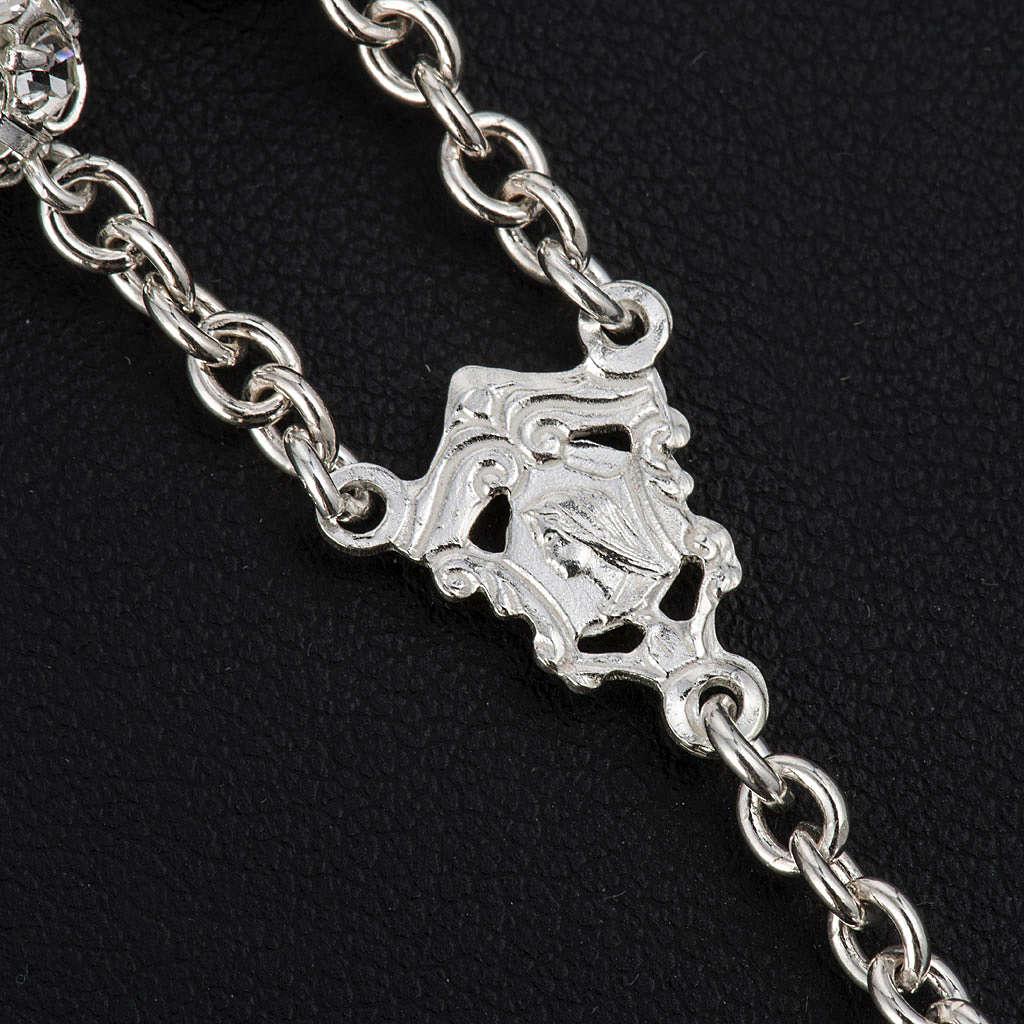 Rosario cristal blanco plata 925 granos 8mm 4