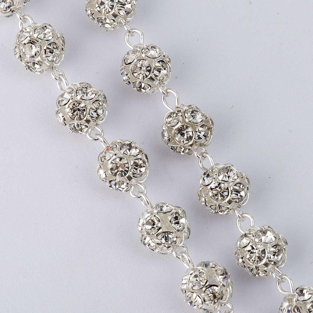 Chapelet strassball blanc argent 925 perles 8mm 4
