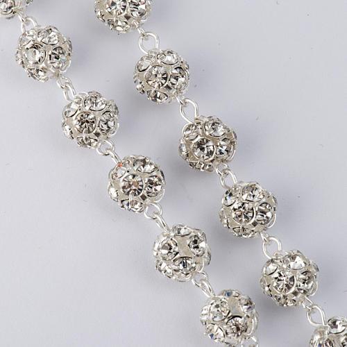 Chapelet strassball blanc argent 925 perles 8mm 2