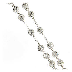 Rosary beads in 925 silver with 8mm beads encrusted with Swarovski crystals s3