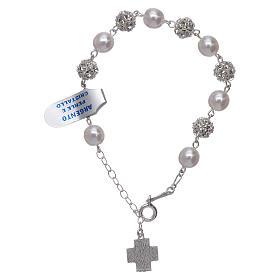 Bracelet One Decade rosary beads,  rhinestones pearl 925silver s2