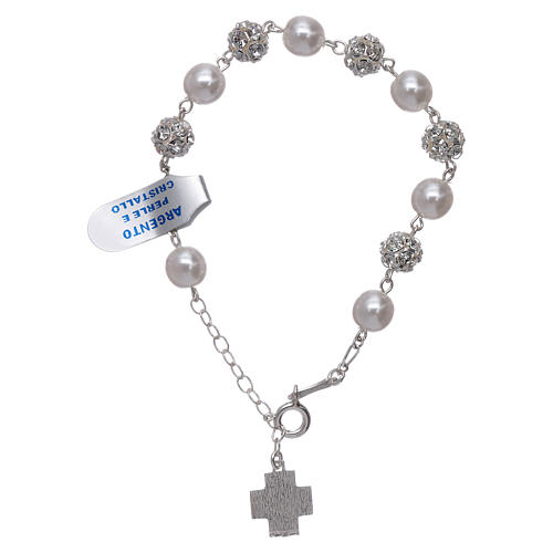 Bracelet One Decade rosary beads,  rhinestones pearl 925silver 2