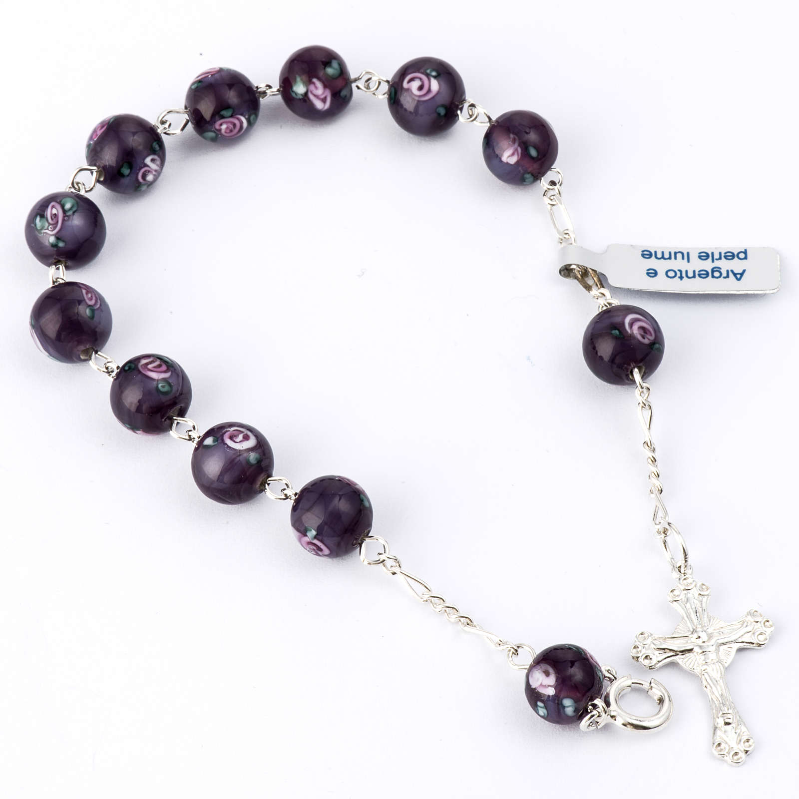 Bracelet with 0,31in purple Perle a Lume venetian beads 4