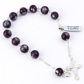 Bracelet with 0,31in purple Perle a Lume venetian beads s1