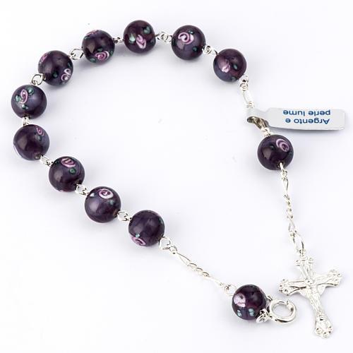 Bracelet with 0,31in purple Perle a Lume venetian beads 1