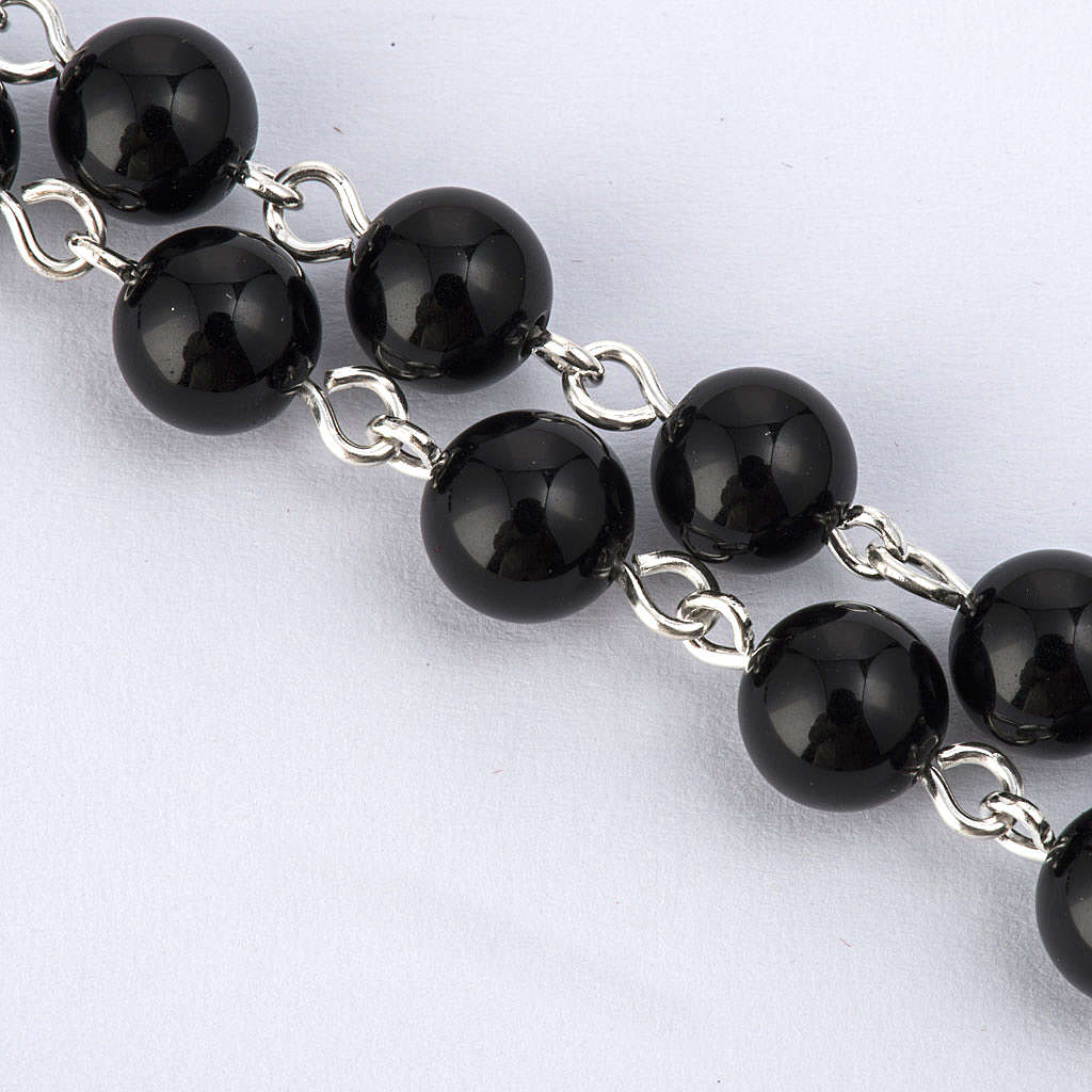 Rosary beads with Roman basilicas, Silver and onyx 6 mm 4