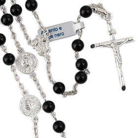 Rosary beads with Roman basilicas, Silver and onyx 6 mm s1