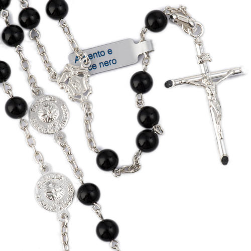 Rosary beads with Roman basilicas, Silver and onyx 6 mm 1