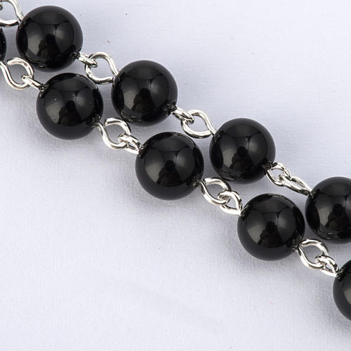 Rosary beads with Roman basilicas, Silver and onyx 6 mm 3