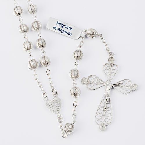 Rosenkranz in Filigranarbeit aus 800er Silber mit 6mm Perlen 1