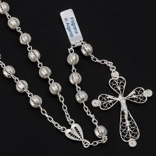 Rosenkranz in Filigranarbeit aus 800er Silber mit 6mm Perlen 2