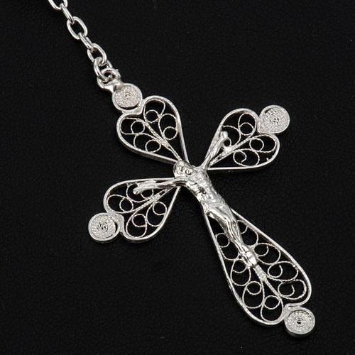 Rosenkranz in Filigranarbeit aus 800er Silber mit 6mm Perlen 3