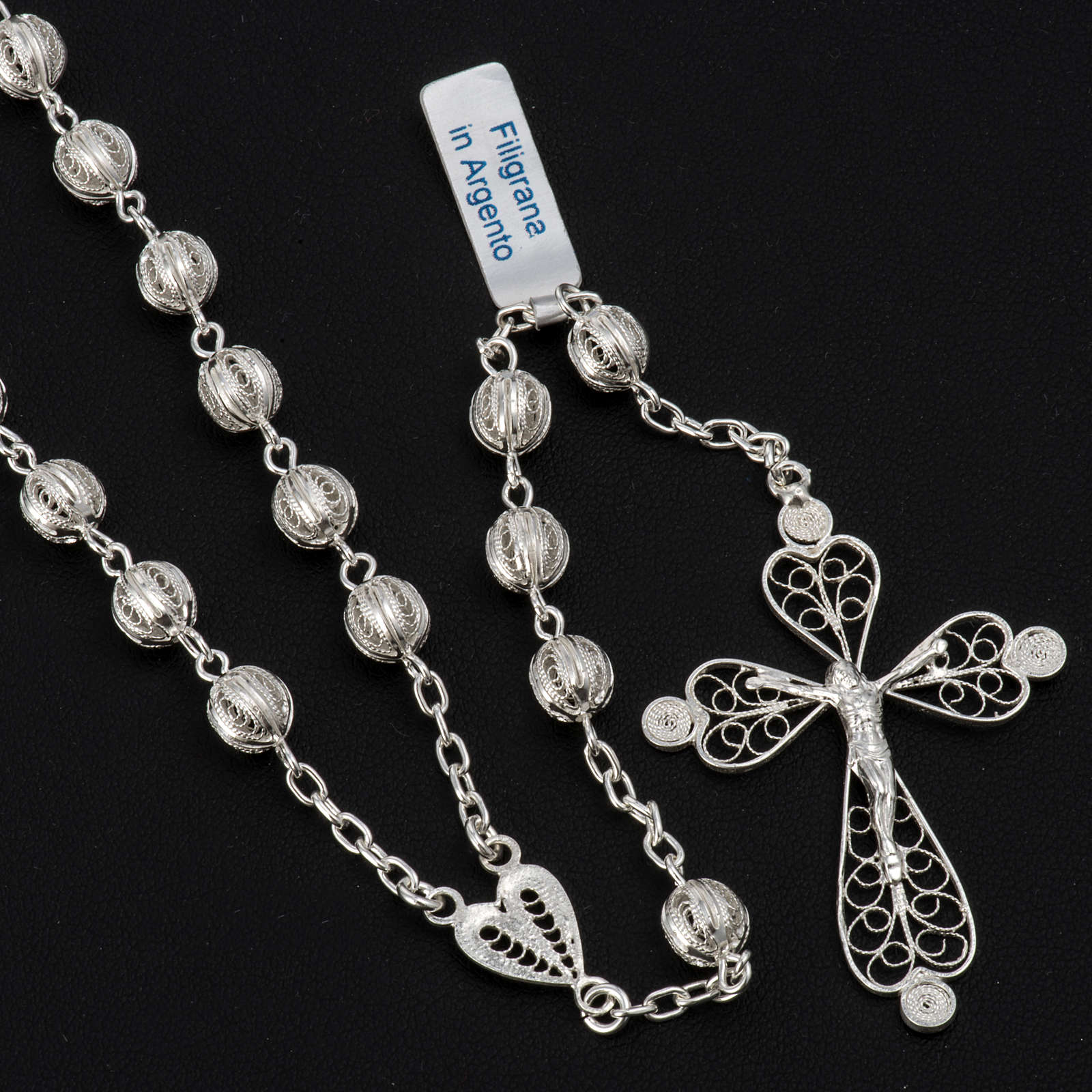Rosary beads filigree in 800 silver 0,24in 4