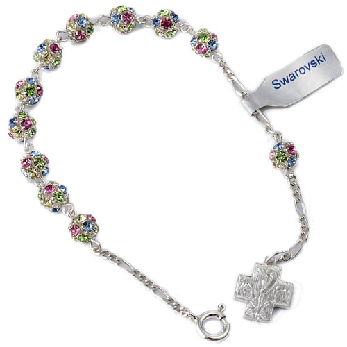 Bracelet, One Decade rosary beads, multicoloured rhinestone ball 1