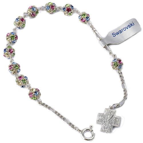 Bracelet dizainier argent 925 strassball multicolore 1
