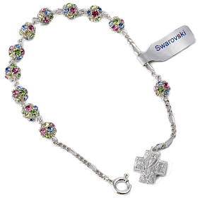 Bracelet, One Decade rosary beads, multicoloured rhinestone ball s1