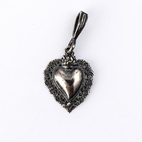 Ciondolo cuore ex-voto Arg. 925 brunito. 1