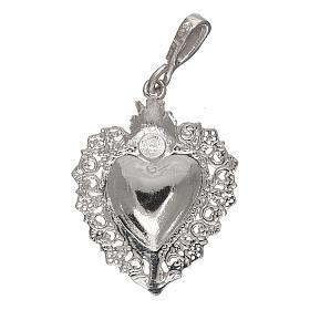 Pingente coração ex-voto em prata 925 s2