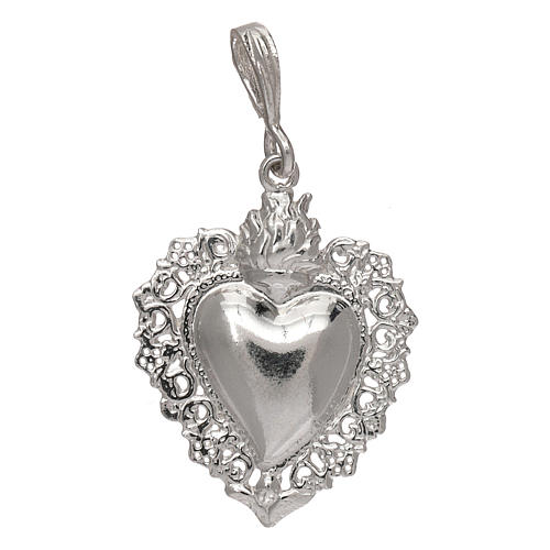 Pingente coração ex-voto em prata 925 1