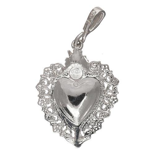 Pingente coração ex-voto em prata 925 2