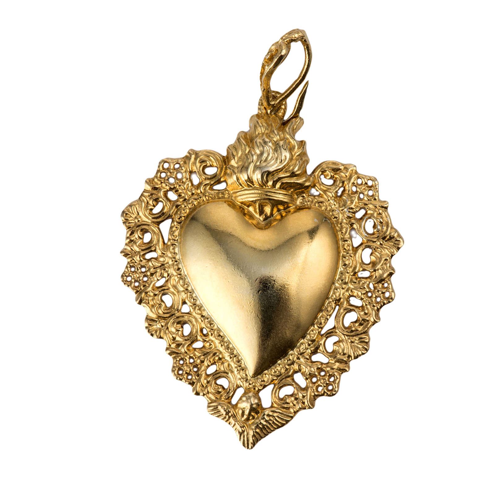 Colgante corazón ex-voto plata 800 dorado 4