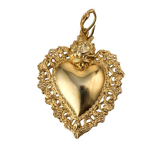 Colgante corazón ex-voto plata 800 dorado 1