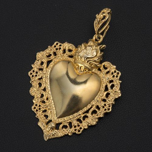 Colgante corazón ex-voto plata 800 dorado 2