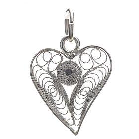Pingentes, Cruzes, Broches, Correntes: Coração filigrana prata 800