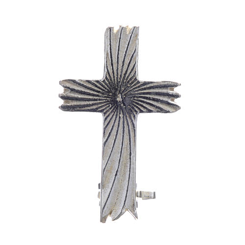 Cruz broche clergyman de rayas plata 925 1