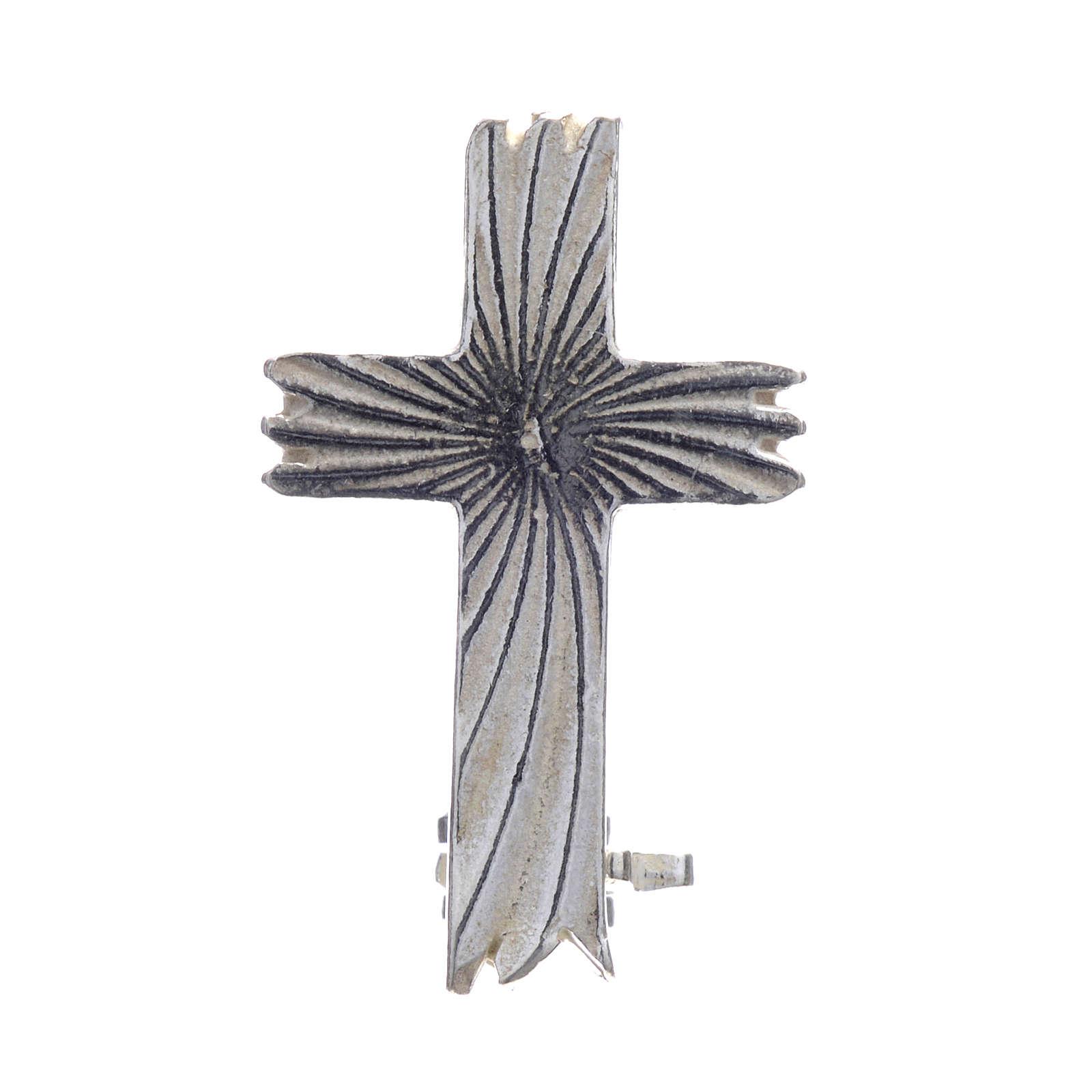 Croce spilla clergyman zigrinata arg.800 4