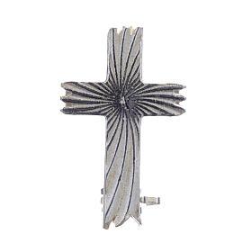 Croce spilla clergyman zigrinata arg.800 s1