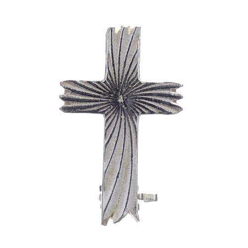 Croce spilla clergyman zigrinata arg.800 1