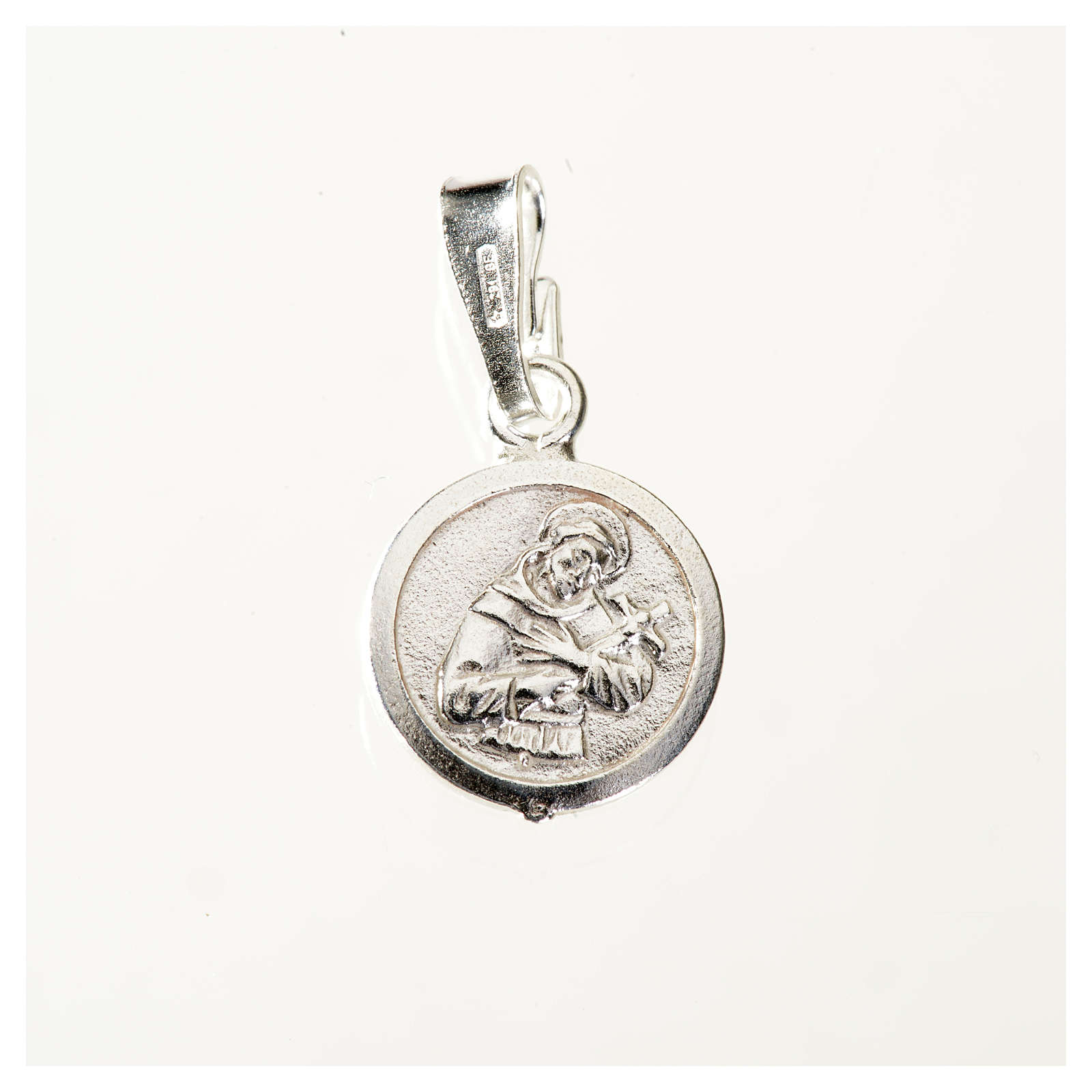 Pendant medal in sterling silver, Saint Francis 9mm 4