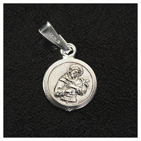 Pendant medal in sterling silver, Saint Francis 9mm s2