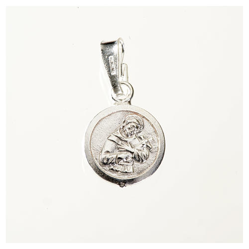 Pendant medal in sterling silver, Saint Francis 9mm 1